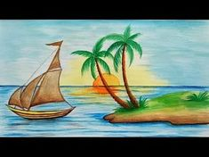 Beautiful drawing for children in simple steps(oil pastel shading Drawing Pictures For Kids, Scenery Drawing For Kids, Art Drawings For Kids, 3d Drawings, Landscape Drawings, Pictures To Draw, Drawing For Children, Oil Pastel Art, Oil Pastel Drawings