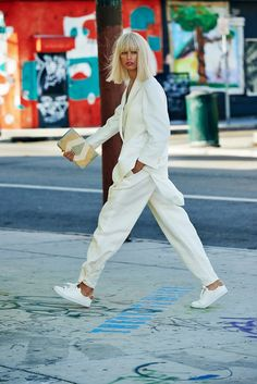 cream suit for women, casual chic suit for women, casual suit outfit for young women High Street Fashion, Street Chic, Sport Street Style, White Fashion, Look Fashion, Fashion Killa, Mode City, Cream Suit, Estilo Hippie Chic