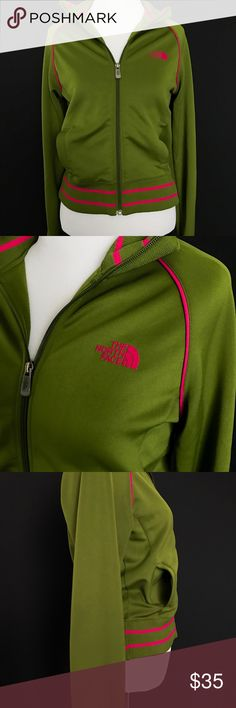 The North Face A5 Series Track Jacket Olive green and hot pink track jacket from The North Face. Size XS. Excellent pre-loved condition -- one small area on back where fabric has pilled a bit (approx 1x4 inches) pic #5. The North Face Jackets & Coats