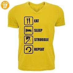 Berserk Inspired Eat Sleep Struggle Repeat Guts Graphic Men's V-Neck T-shirt XX-Large (*Partner-Link)