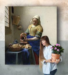 Het Melkmeisje - Muurmeesters Johannes Vermeer, Painting, Art, Art Background, Painting Art, Kunst, Paintings, Performing Arts, Painted Canvas