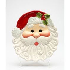 Unique sculpted and hand-painted Santa plate by the skilled worker. | The Holiday Aisle® Heuraux Ceramic Abstract Decorative Plate in Ceramic in White, Size 1.25 H x 7.38 W x 8.38 D in | Wayfair Xmas, Christmas Ornaments, Christmas Dishes, Christmas Clipart, Christmas Cookies, Christmas Time, Vintage Christmas, Christmas Ideas, Christmas Decorations