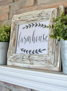 FREE farmhouse printable! Simple Farmhouse Mantel styled with old books and greenery.