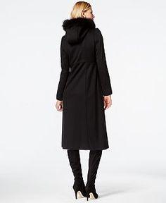 Forecaster Wool-Cashmere-Blend Velvet-Trim Maxi Coat - Coats - Women - Macy's