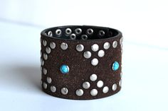 Wide Leather Cuff - Thick Bracelet from an Upcycled Belt - Turquoise and Silver - Bohemian, Gypsy by The Repurposed Artist on Etsy