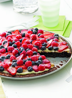 Brownie and Berries Dessert Pizza-this has got to be good for you with the berries on it.
