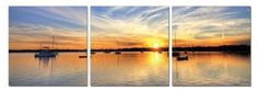 Amazon.com: Sunset's Spectators. Contemporary Art, Modern Wall Decor, 3 Panel Wood Mounted Giclee Canvas Print, Ready to Hang A1096: Home & Kitchen