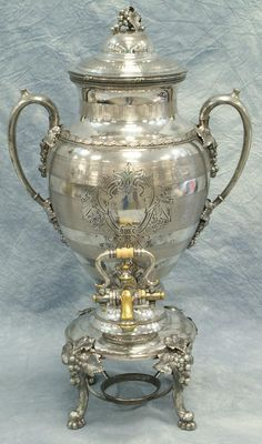 Plated silver Victorian coffee urn by Reed & Barton