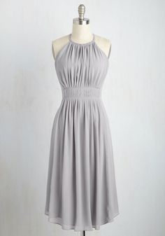 Lovely at First Sight Dress - Grey, Solid, Daytime Party, A-line, Sleeveless, Spring, Woven, Good, Long