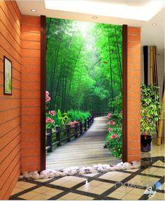 3D Bamboo Tree Flower Lane Corridor Entrance Wall Mural Decals Art Print Wallpaper 069