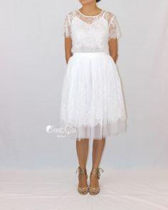 New to CestCaNY on Etsy: Brigitte Bridal Tulle Skirt White Tulle Lace Skirt Adult Tutu Bridal Skirt Braidesmaids Skirt Plus Size Tutu Midi Tulle Skirt (69.00 USD)