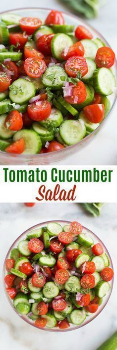 Tomato Cucumber Salad garnished with red onion and fresh basil. One of our favorite fresh and healthy summer side dishes! | tastesbetterfromscratch.com