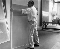 Rothko moving a canvas in his 53rd Street studio in the early '50s.