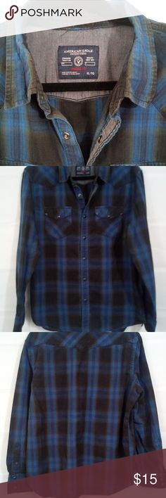 67d7feb06a4 American Eagle Mens Vintage Fit Plaid Shirt XL American Eagle Mens Button  Down Snap Closure Shirt