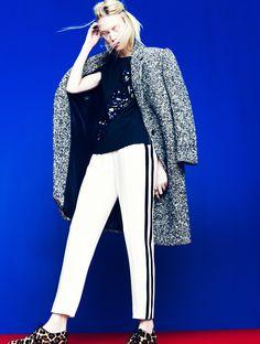 J.Crew Collection: bouclé topcoat, jeweled sash shirt, and tuxedo pant.