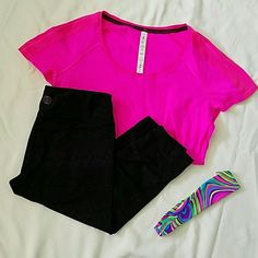 Lululemon Athletically top Size 6 Hot Pink top with pin stripes. Polyester Nylon xstatic silver nylon Spandex. lululemon athletica Tops Tees - Short Sleeve