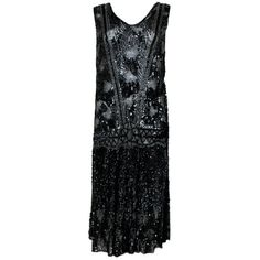 Preowned 1920s Black Sequined Starburst Flapper Dress ($4,000) ❤ liked on Polyvore featuring dresses, 20s, multiple, black sequin dress, 1920s cocktail dresses, black dress, gatsby dress i beaded flapper dress
