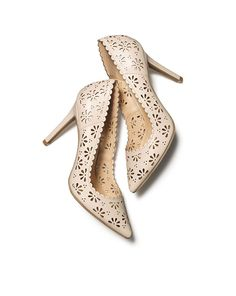 These nude Floral Cutout High Heels are essential.