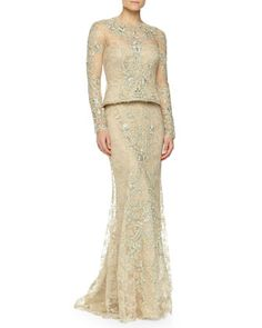 Beaded+Floral+Lace+Peplum+Gown,+Nude,+Women\'s+by+Monique+Lhuillier+at+Neiman+Marcus.