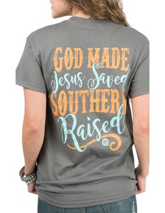 Girlie Girl Originals Women's Charcoal with God Made Jesus Saved Southern Raised Screen Print Short Sleeve T-Shirt | Cavender's