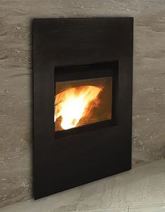 Modern looking pellet fireplace..love it!