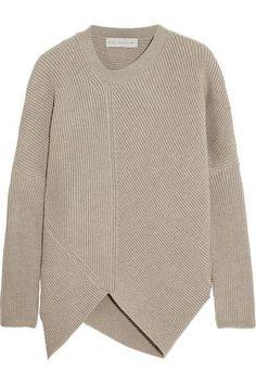 Beige asymetrical jumper by Stella McCartney. Minimalist sweater for women.
