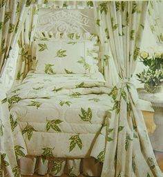 """1970s Christian Dior bedding with """"muguet' motif, licensed American product"""