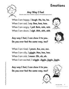 Feelings Chant Preschool Songs & Fingerplays: Building Language Experience Through Rhythm Feelings Preschool, Preschool Music, Preschool Curriculum, Preschool Lessons, Preschool Classroom, Preschool Fingerplays, Teaching Emotions, Emotions Activities, Kindergarten Songs