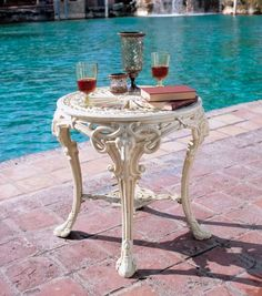 51 Outdoor Side Tables That Will Add Convenience To Your Outdoor Experience Metal Side Table, Iron Table, Solid Wood Dining Table, Side Tables, Garden Table, Patio Table, Diy Patio, Garden Benches, Balcony Garden
