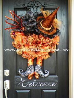 Halloween Spider Witch Wreath Orange and Black by poshcreationsKY,