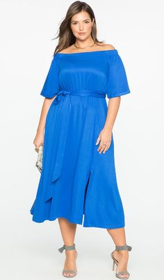 22d0fcdbd85 View our Off the Shoulder Midi Dress with Wrap Skirt and shop our selection  of designer women s plus size Dresses