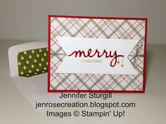 Holly Jolly Greetings by jenrosecreation.blogspot.com, Stampin' Up!, Christmas Greetings Thinlits, Merry Moments Designer Series Paper Stack, Real Red