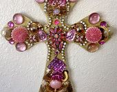 Pink and Gold vintage jeweled cross