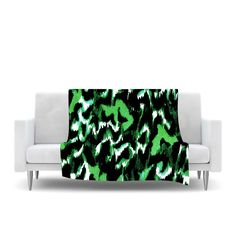 """Ebi Emporium """"Wild at Heart - Green"""" Emerald Fleece Throw Blanket from KESS InHouse Colorful Bold Wild Animal Print Green Lime Emerald Black Leopard Print Abstract Painting Modern Home Decor Fleece Cozy Throw Blanket #modern #home #decor #dorm #cool #chic #stylish #blanket #snuggle #decoration #EbiEmporium #whimsical #animal #pattern"""