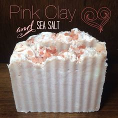 handcrafted cold process soap:) made with all natural oils and butters, coloured with french pink clay and topped with himalayan sea salt:)