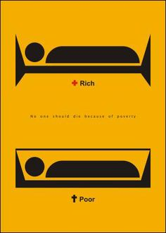 "Salome Koshkadze from Tbilisi, Georgia is in our first Poster Monday spot of the day for her poster entitled ""Rich & Poor"". Creative Poster Design, Creative Posters, Design Posters, Creative Advertising, Advertising Design, Social Advertising, Social Awareness Posters, Great Ads, Social Art"