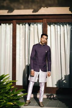 Purple Bandhgala jacket with dual hem & 2 show buttons with White kurta with full circular purple embroidery paired with Solid Lavender cotton silk trousers India Fashion Men, Indian Men Fashion, Men's Fashion, Mens Indian Wear, Indian Groom Wear, Indian Wedding Clothes For Men, Indian Wedding Outfits, Mens Kurta Designs, Blouse Designs