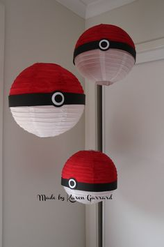We made these Pokemon balls to hang above the food table. I purchased the white…