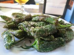 Little fried peppers at the Atarizanas central market. Malaga, Spain.