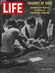 The Kent State Massacre, May 4, 1970, involved the shooting of unarmed college students by the Ohio National Guard, killing four and wounding nine others. Some of the students who were shot had been protesting the American invasion of Cambodia, announced by President Nixon a few days prior.