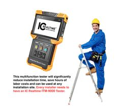 ICRealtime's portable ITM-9000 is a compact camera tester that spans three major surveillance technologies: IP, AVS and Analog. This handheld, battery-powered installation tool will save your integrators hundreds of hours by enabling the installer to complete their installation job the first time they go up the ladder, instead of wasting valuable time trying to troubleshoot video problems or fumbling with a laptop.