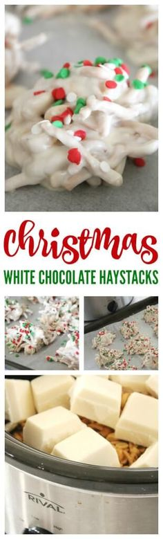 White Chocolate Christmas Haystacks Recipe! An easy slow cooker crockpot recipe for Christmas!