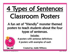 4 Types of Sentences Posters - FREE