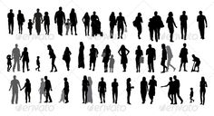 Set of Silhouette Walking People and Children.