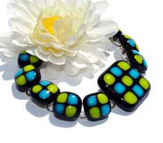 Chunky Fused Glass Bracelet Fused Glass Jewelry by IntoTheLight, $36.00