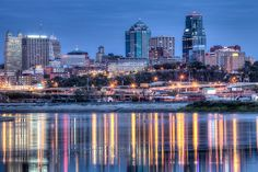 View of Kansas City Missouri skyline from Kaw Point Park in Kansas City, Kansas, MO, USA.