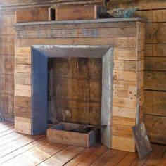 faux fireplace made with pallets,