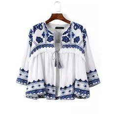 SheIn(sheinside) Blue White Knotted Embroidered Crop Outerwear ($44) ❤ liked on Polyvore featuring outerwear, coats, white, summer coat, embroidered coat, blue coat, cropped coat and white coat