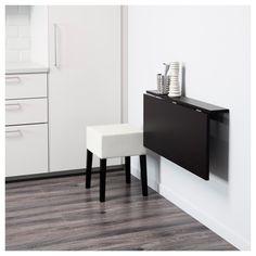 IKEA - BJURSTA / NILS Table and 1 stool brown-black, Blekinge white