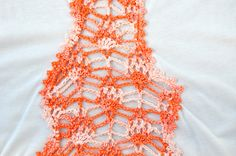 Handmade crochet lace tshirt in white & salmon / by SophieCRO